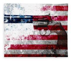 Colt Python 357 Mag On American Flag Fleece Blanket