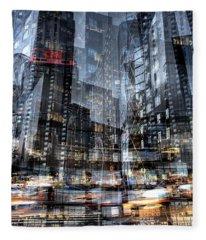 Columbus Circle Collage 1 Fleece Blanket