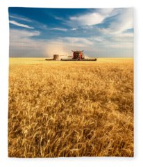 Combines Cutting Wheat Fleece Blanket