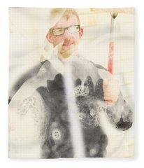 Comical Cleaning Man Fleece Blanket