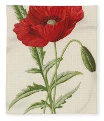 Common Poppy Fleece Blanket