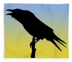 Common Raven Silhouette At Sunrise Fleece Blanket
