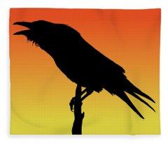 Common Raven Silhouette At Sunset Fleece Blanket