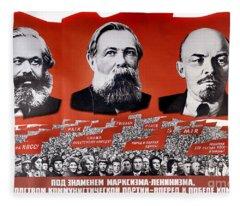Communist Vintage Poster Showing Marx, Engels, And Lenin Fleece Blanket