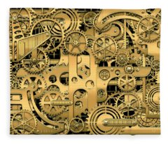 Complexity And Complications - Clockwork Gold Fleece Blanket