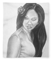 Female In Sorrow Charcoal Drawing  Fleece Blanket