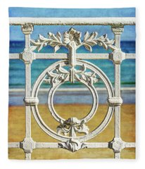 Concha Bay Railing In San Sebastian Fleece Blanket