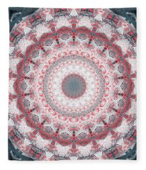 Concrete And Red Mandala- Abstract Art By Linda Woods Fleece Blanket
