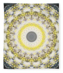 Concrete And Yellow Mandala- Abstract Art By Linda Woods Fleece Blanket