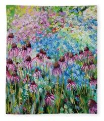 Cone Flowers Fleece Blanket