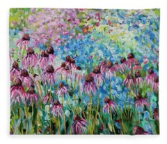Cone Flowers Fleece Blanket