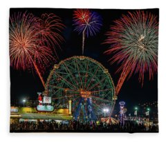Coney Island At Night Fantasy Fleece Blanket