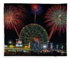 Coney Island At Night Fantasy Fleece Blanket