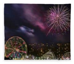 Coney Island Fireworks Fleece Blanket