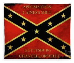 Confederate Battle Flag With Battles Fleece Blanket