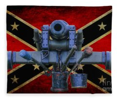 Confederate Flag And Cannon Fleece Blanket