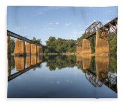 Congaree River Rr Trestles - 1 Fleece Blanket