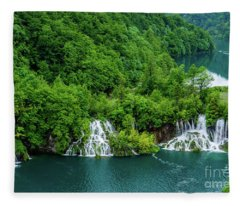 Connected By Waterfalls - Plitvice Lakes National Park, Croatia Fleece Blanket