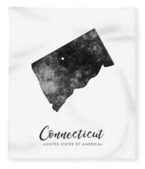 Connecticut State Map Art - Grunge Silhouette Fleece Blanket