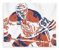 Connor Mcdavid Edmonton Oilers Pixel Art 1 Fleece Blanket