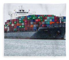 Container Ship Entering Durban Harbour Fleece Blanket