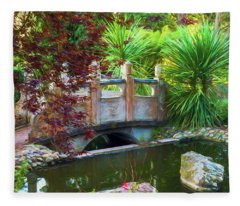 Contemplation Bridge At Chinese Pavilion Fleece Blanket