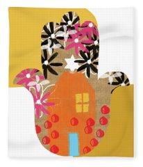 Contemporary Hamsa With House- Art By Linda Woods Fleece Blanket