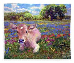 Contented Cow In Colorful Meadow Fleece Blanket