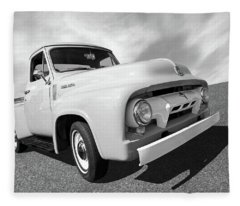 Cool As Ice - 1954 Ford F-100 In Black And White Fleece Blanket