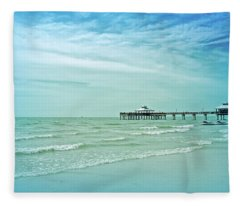Cool Blue Fort Myers Pier Fleece Blanket