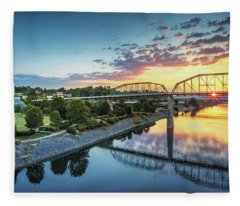 Coolidge Park Sunrise Panoramic Fleece Blanket