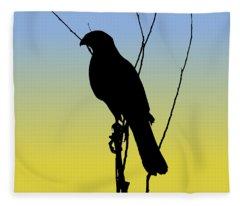 Coopers Hawk Silhouette At Sunrise Fleece Blanket