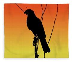 Coopers Hawk Silhouette At Sunset Fleece Blanket