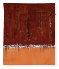 Copper Field Abstract Painting Fleece Blanket