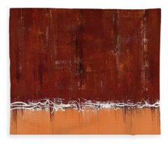 Copper Field Abstract Painting Fleece Blanket