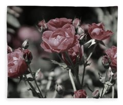 Copper Rouge Rose In Almost Black And White Fleece Blanket
