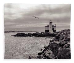 Coquille Lighthouse Oregon  Fleece Blanket