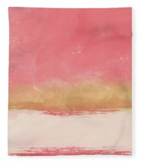 Coral And Gold Abstract 1- Art By Linda Woods Fleece Blanket
