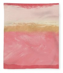 Coral And Gold Abstract 2- Art By Linda Woods Fleece Blanket