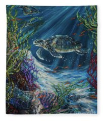 Coral Reef Turtle Fleece Blanket