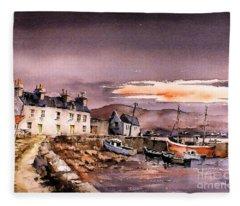 Evening Glow On Coraun Harbour, Mayo Fleece Blanket