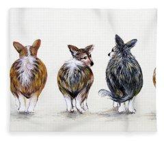 Corgi Butt Lineup With Chihuahua Fleece Blanket