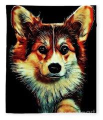 Corgi Portrait Fleece Blanket