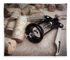 Corkscrew Wine Corks Still Life Fleece Blanket