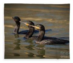 Cormorant Hunting Party Fleece Blanket