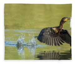 Double-crested Cormorant With Fish 2824-112217-1 Fleece Blanket