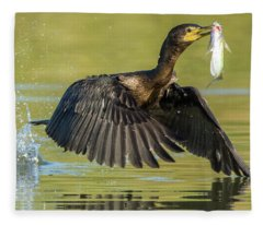 Douible-crested Cormorant With Fish 2824-112217-1cr Fleece Blanket