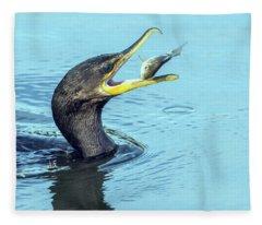 Cormorant With Fish 9306-120317-1cr Fleece Blanket