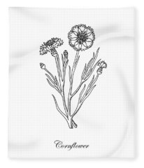 Cornflower Botanical Drawing Fleece Blanket