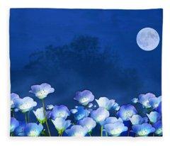 Cornflowers In The Moonlight Fleece Blanket